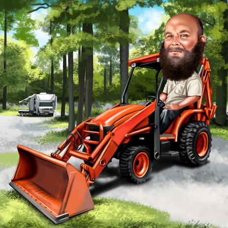 Man on Tractor, Excavator or Loader Caricature with Colored Background - example