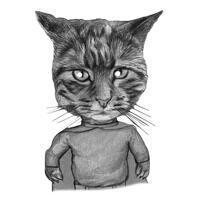 Cat Superhero Cartoon Portrait in Black and White Style Hand-Drawn from Photo