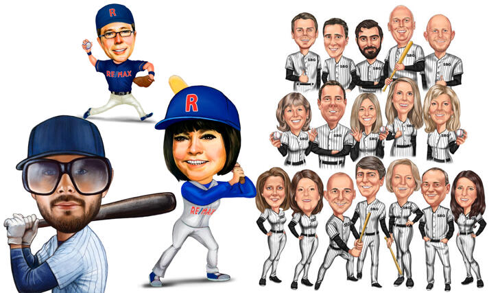 Baseball Caricatures large example