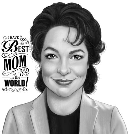 Mother Portrait Drawing from Photos in Black and White Style - example