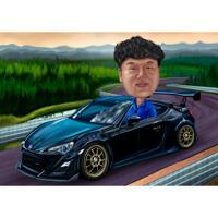 Портрет человека в автомобиле нарисованная с фоном с фотографии для подарка
