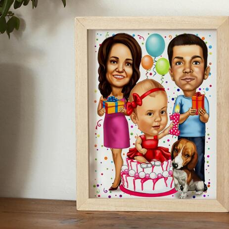 Birthday Family Caricature Printed on Poster - example
