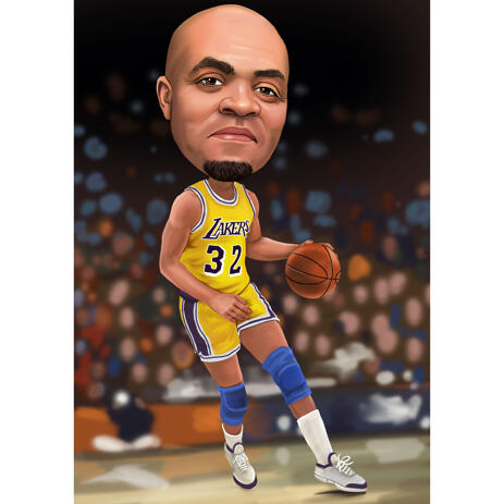 Basketball Caricature with Colored Background - example