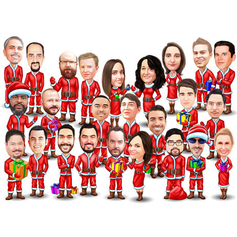 Group Christmas Caricature in Santa Clothes and White Background - example