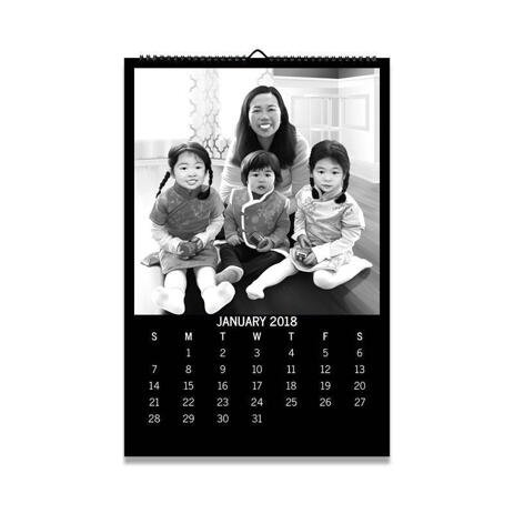Family with Kids Caricature as Calendar - example