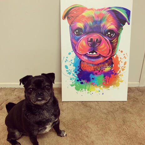 Watercolor Dog Portrait of Canvas - example