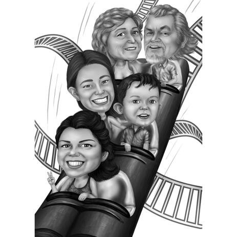 Rollercoaster Family Caricature from Photos - example