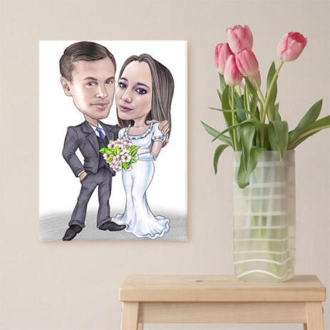 Wedding Caricature on Canvas - example