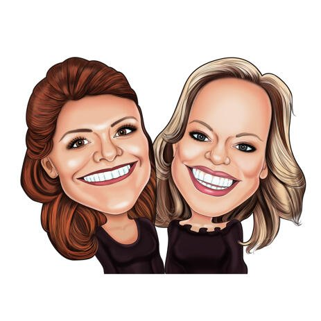 Sisters Caricature in Exaggerated Style from Photos - example