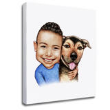 Kid and Dog Caricature as Photo Block