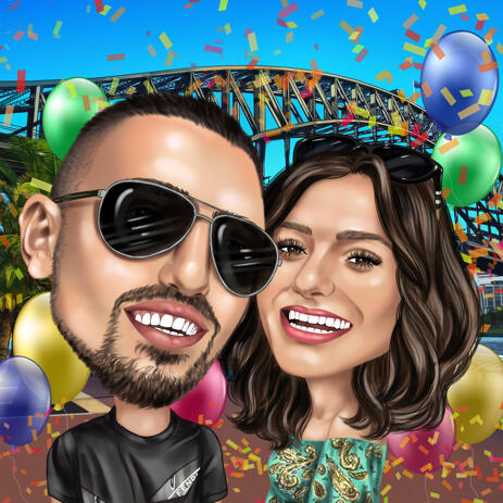 Head and Shoulders Couple Birthday Caricature Drawing for Treasure Gift - example