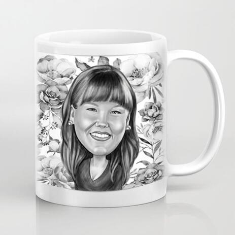 Kundenspezifische Foto-Tasse: Digital-Cartoon-Zeichnung vom Foto - example