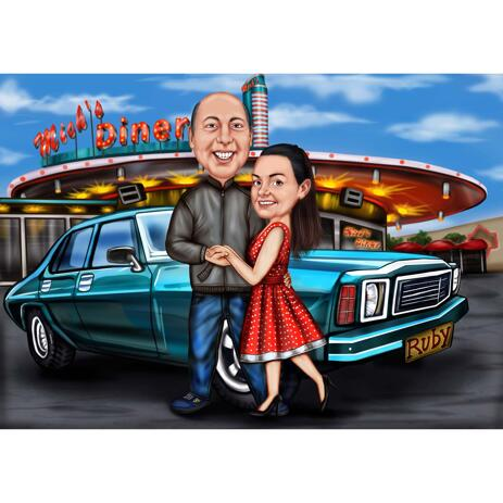 Colored Caricature of Couple with Vehicle and Custom Background - example