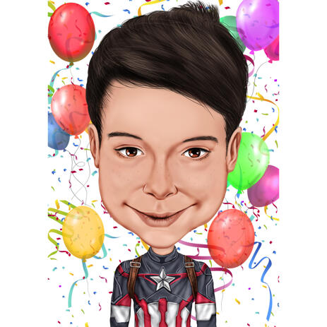 Custom Birthday Boy Caricature from Photos in Colored Style - example
