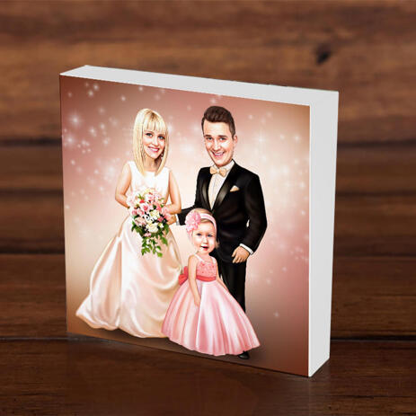 Wedding Couple with Child on Photo Block Caricature - example