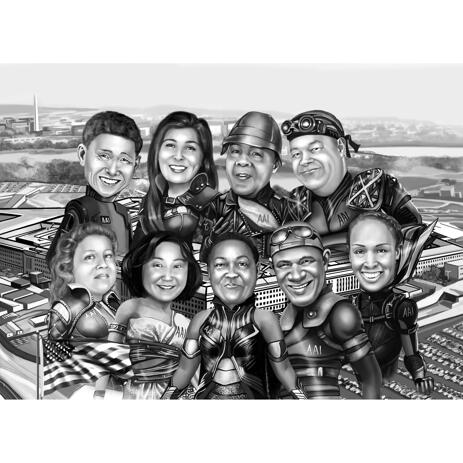 Superhero Group Caricature in Black and White with City Background - example
