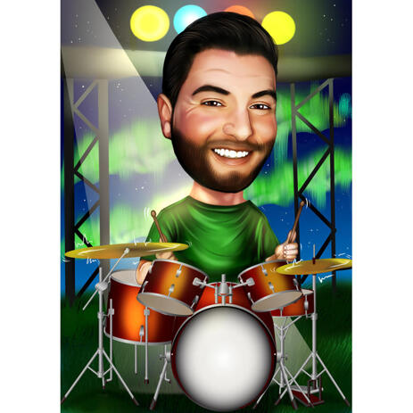 Custom Drummer Caricature from Photos for Drums Lover - example