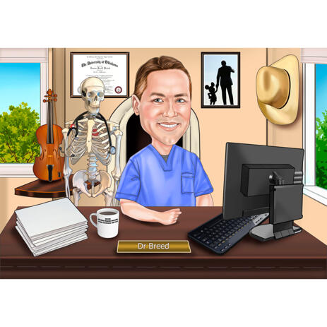 Individual Doctor Caricature from Picture with Custom Background - example
