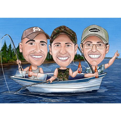 Group Fishing and Boating Caricature in Color Style from Photos - example
