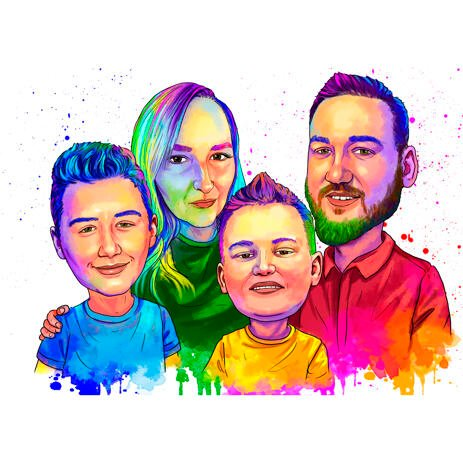 Watercolor Family Portrait in Colored Style - example