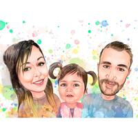 Föräldrar med barnporträtt i akvarell pastellstil från foton