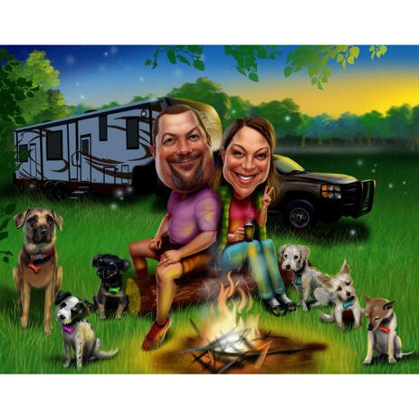 Карикатура пары с домашними животными в кемпинге в комическом стиле с фотографии - example