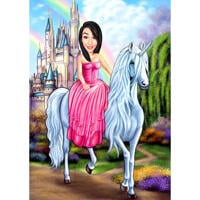 Fairy Princess Caricature on Unicorn with Custom Background