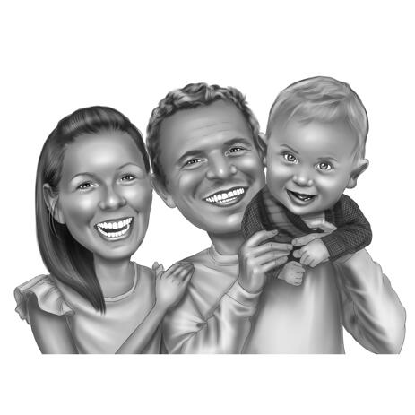 Couple with Baby Portrait Caricature from Photos Drawn in Black and White Style - example