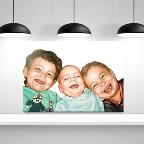 Brothers Caricature from Photos as Canvas - example