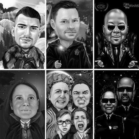 Custom Caricature Inspired from Any Movie with Background in Black and White - example