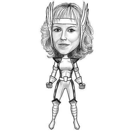 Full Body Woman Superhero Caricature from Photo in Black and White - example