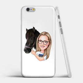 Girl and Horse Caricature Printed as Case