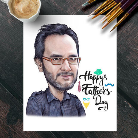 Printed Happy Father's Day  Poster - Colored Dad Caricature from Photo - example