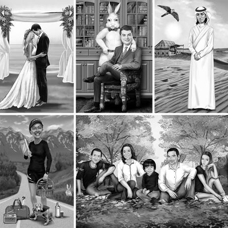 Black and White Full Body Portrait with Personalized Background - example