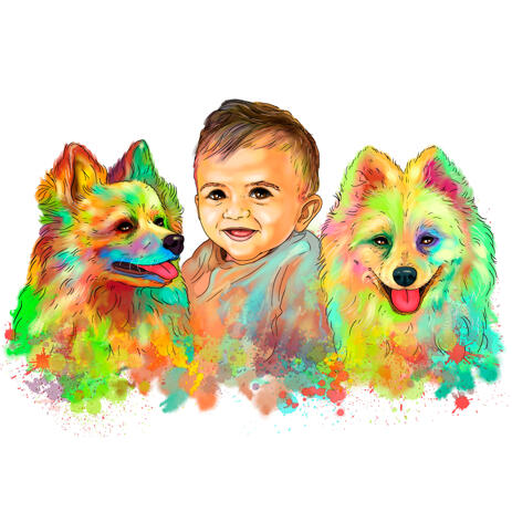 Kid with Pomeranian Dogs Head and Shoulders Caricature Portrait in Watercolor Style - example