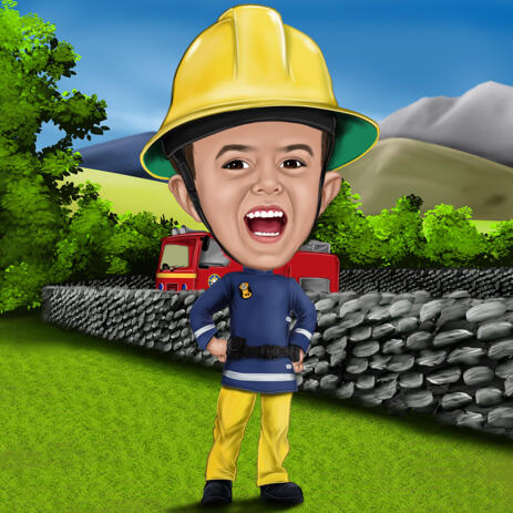 Kid Caricature for Fireman Sam Fans - example