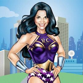 Woman Superhero Cartoon Drawing from Photo in Colored Digital Style