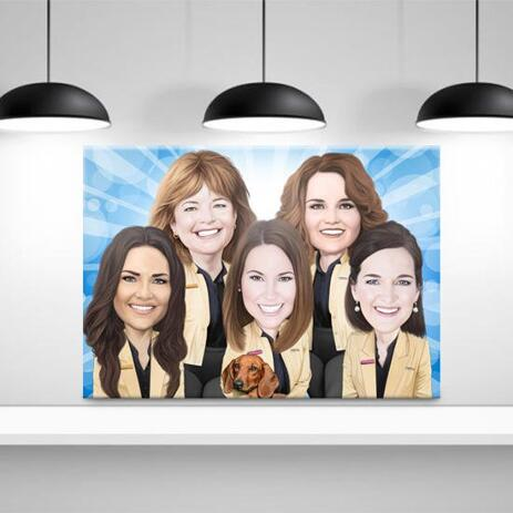 Staff Caricature on Canvas - example