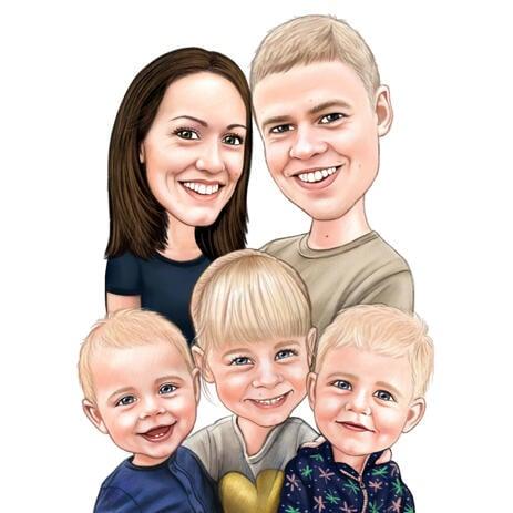 Farvet familieportræt håndtegnet af billeder - example