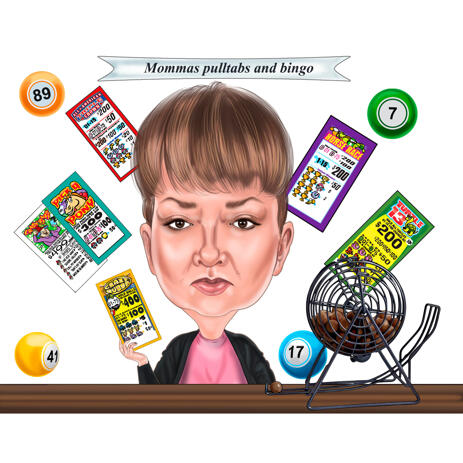 Bingo Player Caricature Hand Drawn in Color Style  for Custom Gift for Person - example