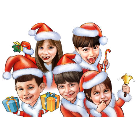 Children Christmas Caricature from Photos for Custom Gift - example