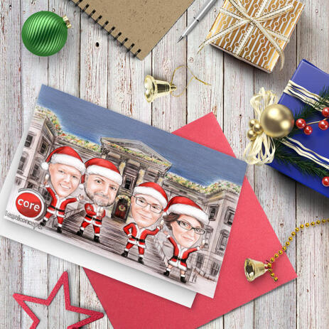 Office Group Santa Caricature Set of 10 Cards in Color Style with Custom Background from Photos - example