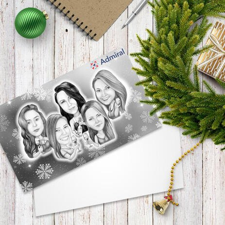 Group with Champagne Glasses Caricature Gift with Set of 10 Christmas Cards - example