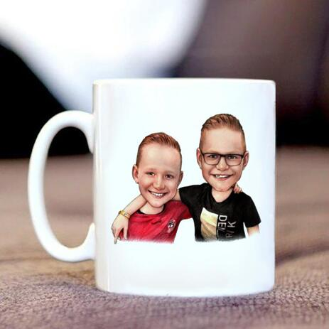 Friends Kids Caricature on Mug - example