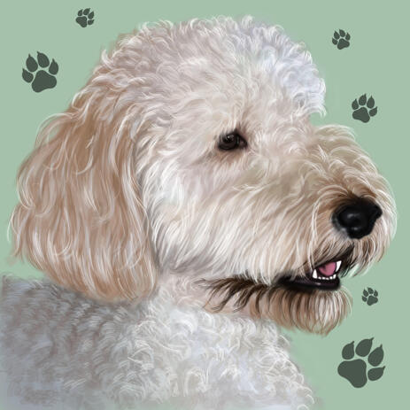 Miniature Poodle Colored style Cartoon Portrait Art from Photos with Background - example