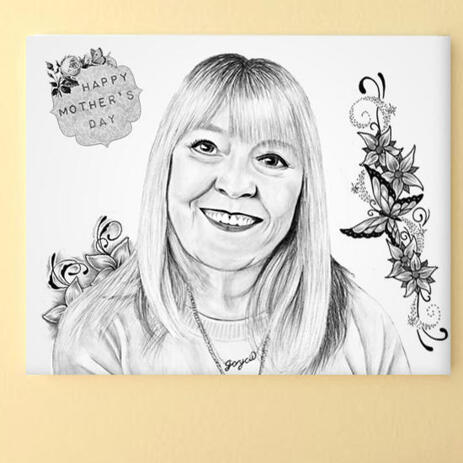 Print on Canvas: Original Portrait Drawing from Photo  - example
