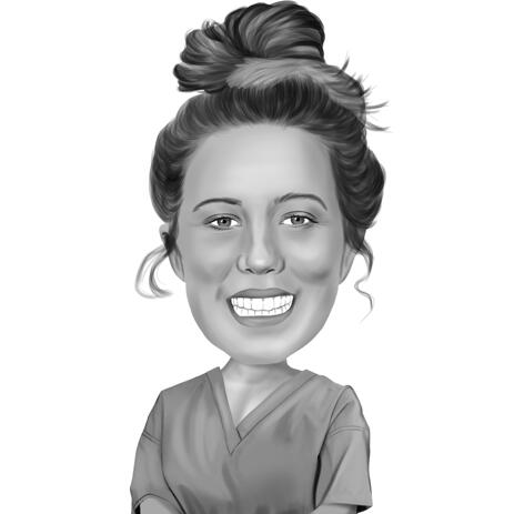 Nurse Caricature from Photo in Black and White Style - example