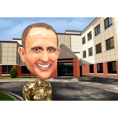 Army Officer Cartoon Portrait in Head and Shoulders Colored Style on Custom Background - example
