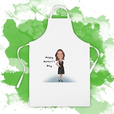 Custom Print on Apron: Personalized Woman Cartoon Drawing in Colored Pencils Style - example