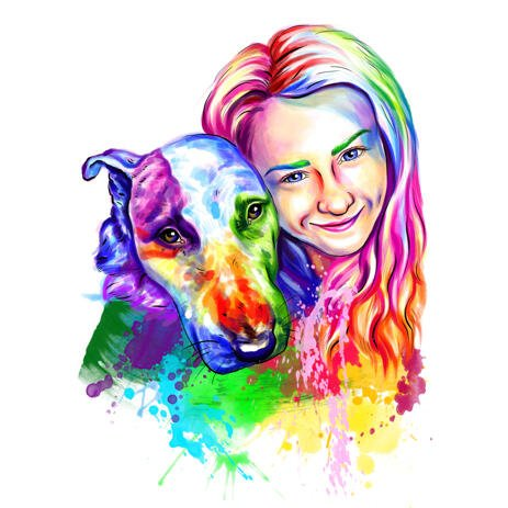Owner with Muscular Bull Terrier Portrait Caricature in Rainbow Watercolor Style - example